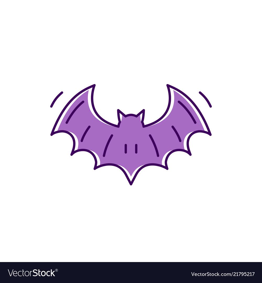 Bat icon colorful flat halloween symbols