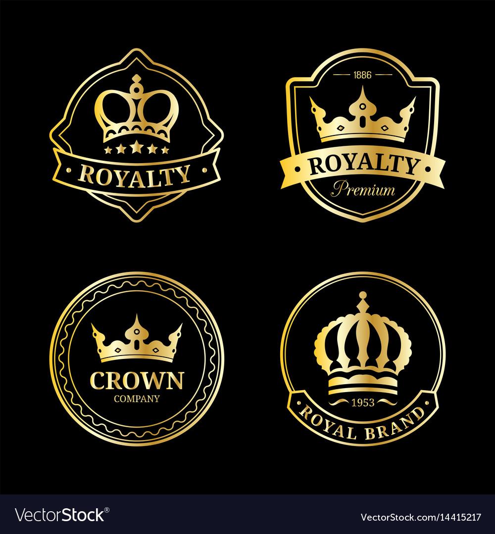 Crown logos set luxury corona monograms