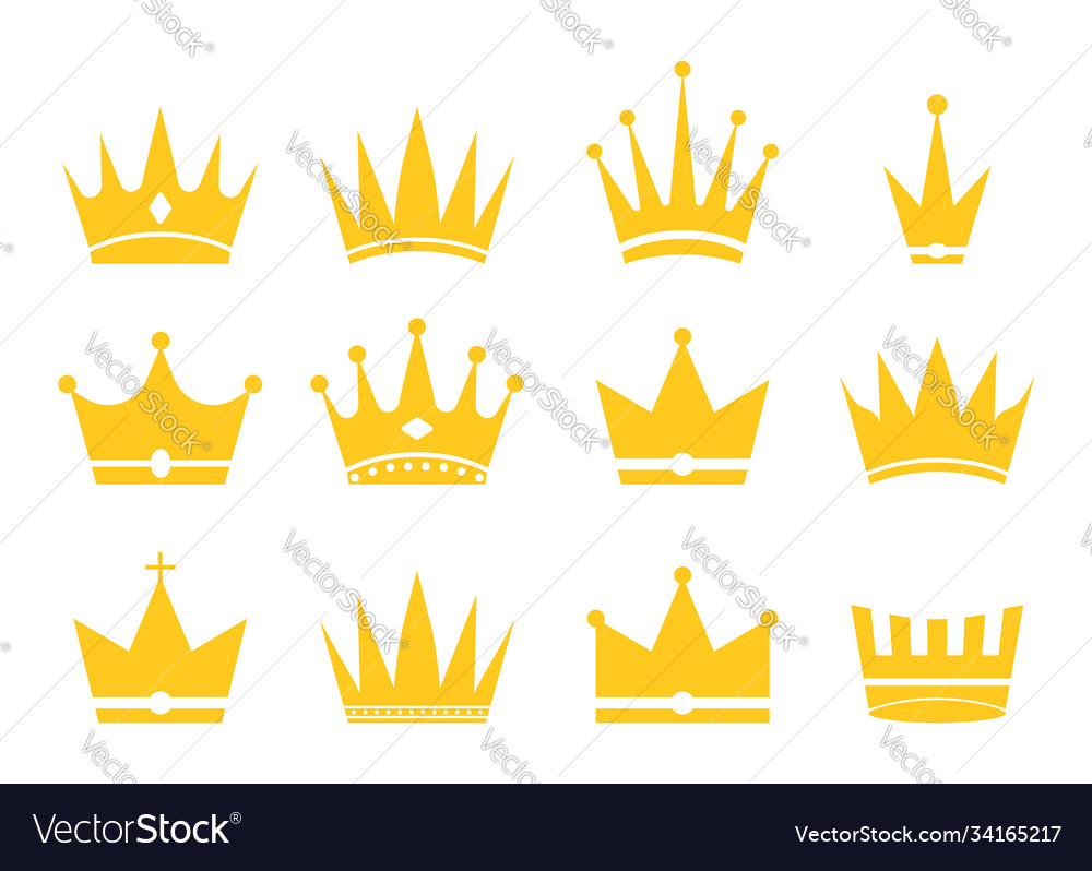 Crowns for king queen princess and prince gold