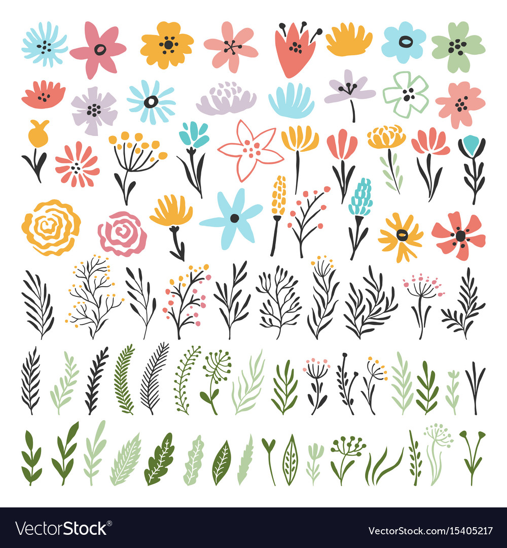 Different florals elements for your design project