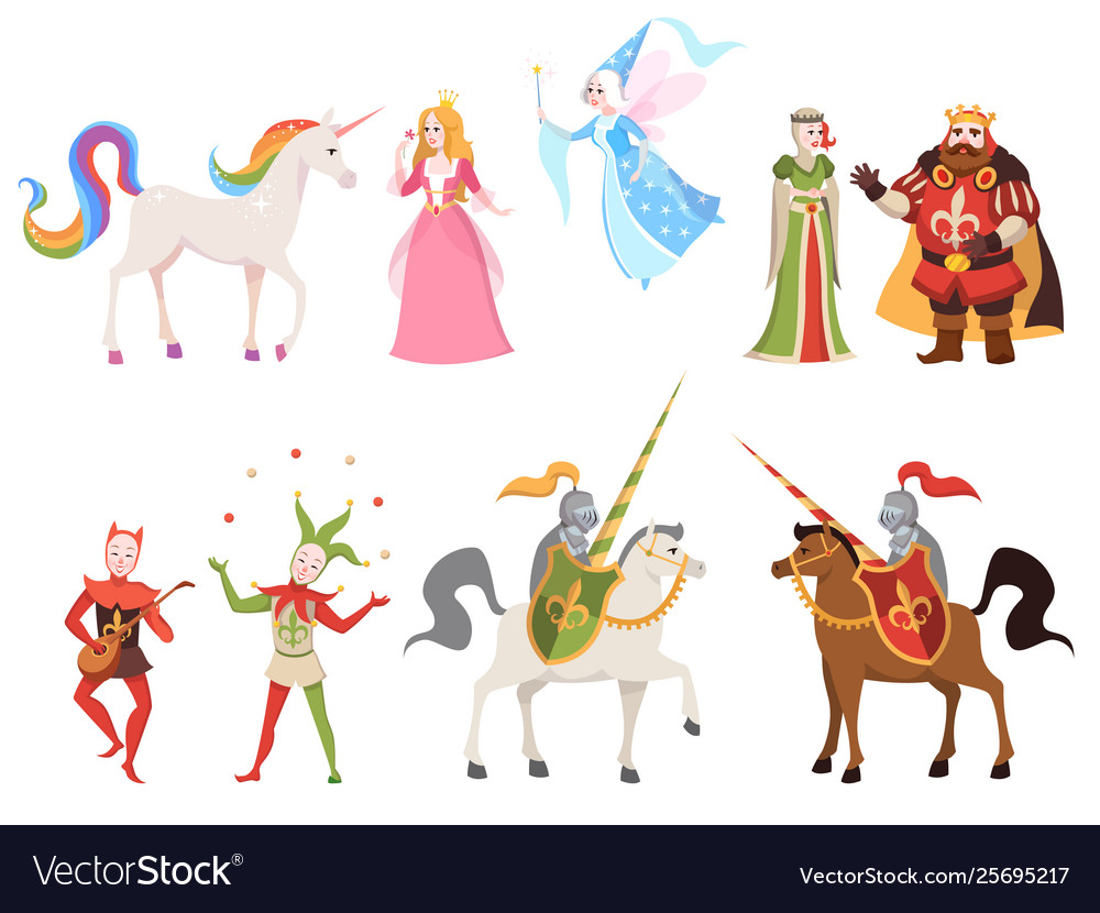 Fairy tales characters wizard knight queen king