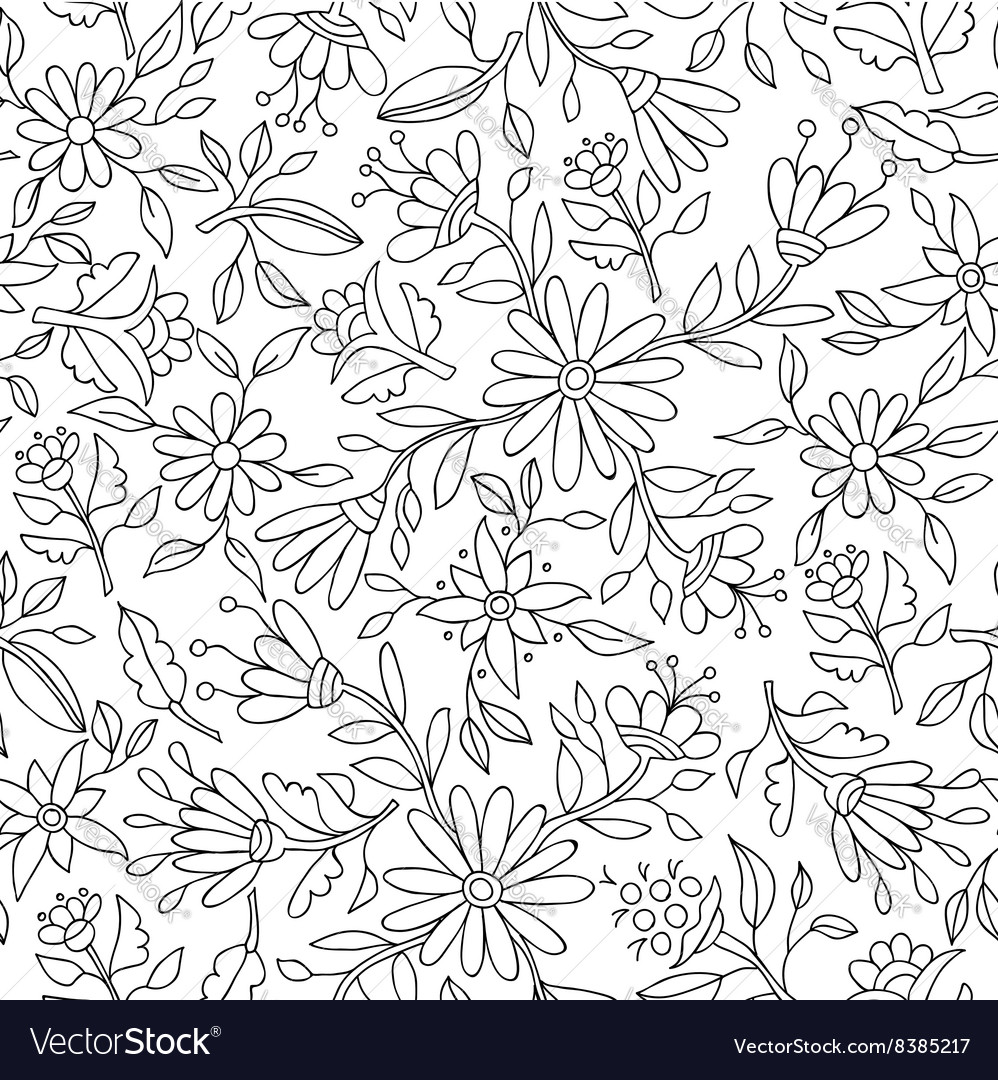 Flower background in black and white for coloring vector image
