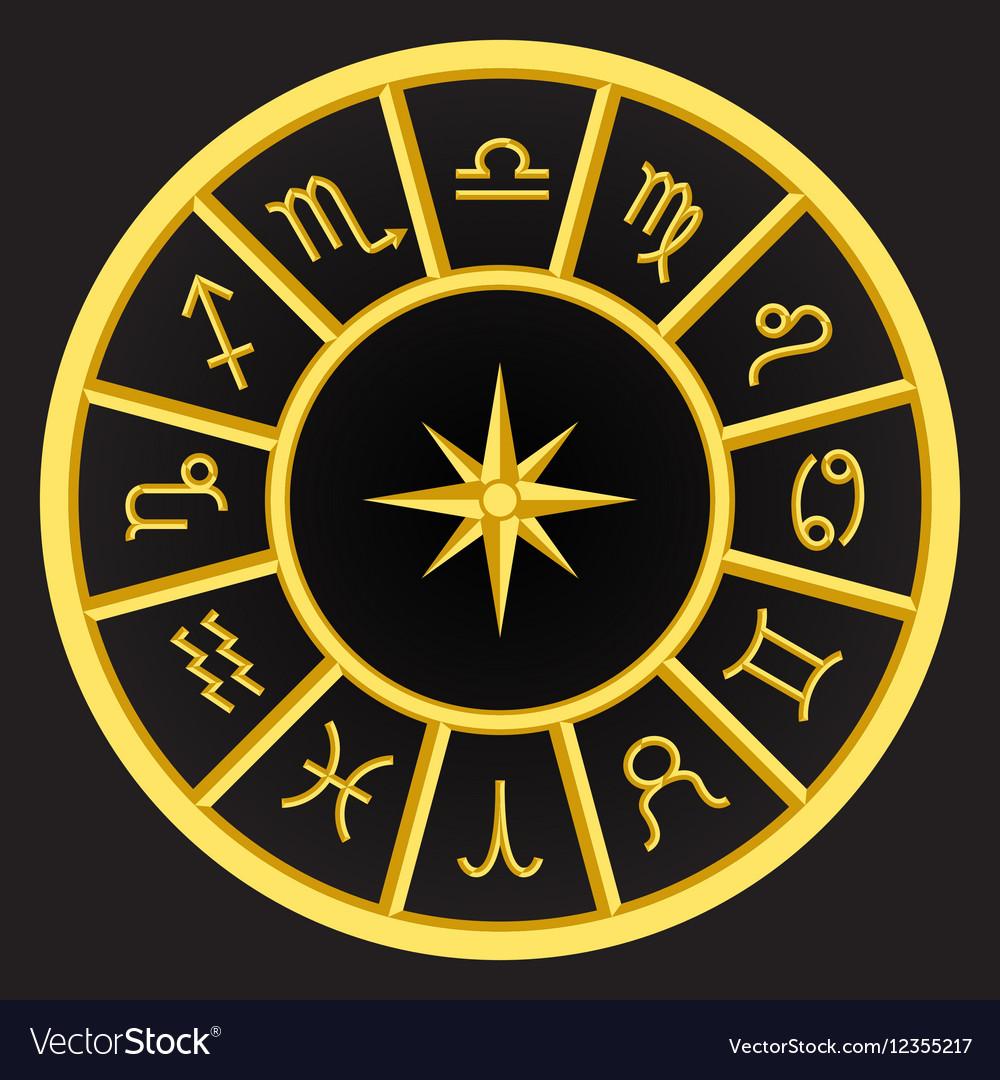 Golden zodiac symbols circle vector image