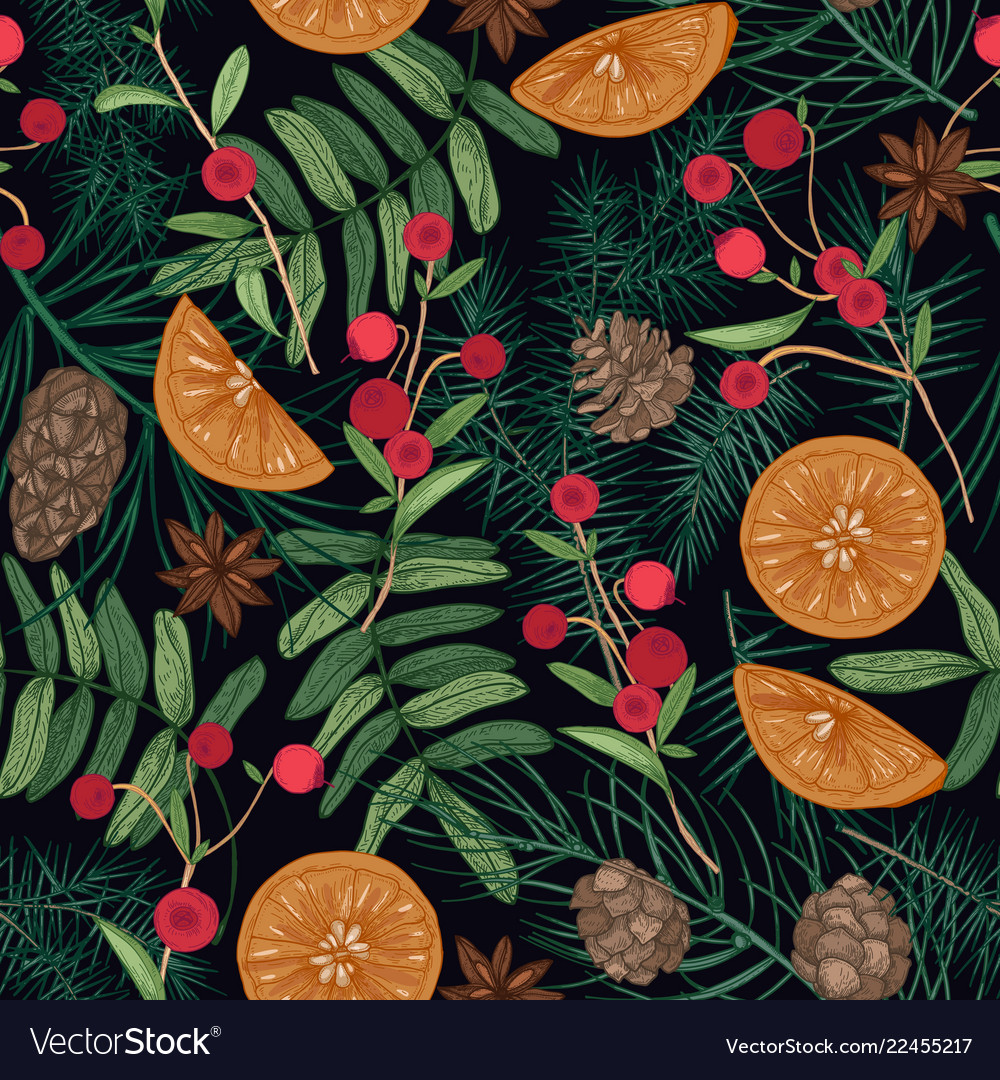 Holiday seamless pattern with pine and spruce tree