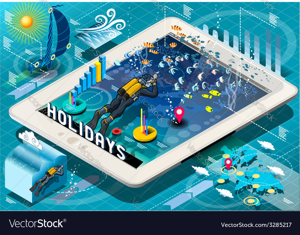 Isometric Diving Holidays Infographic on Tablet vector image