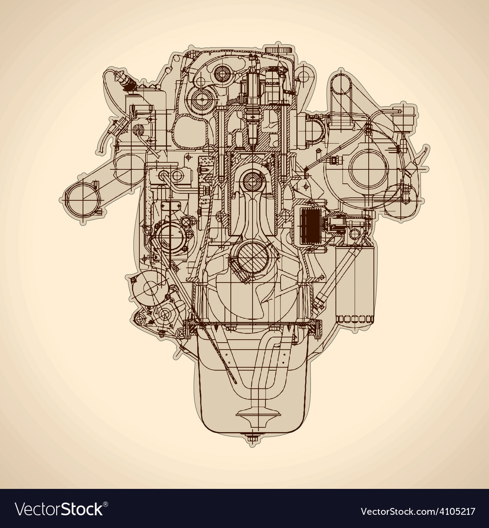 vintage engine old picture royalty free vector image rh vectorstock com V6 Engine Diagram Simple Engine Diagram