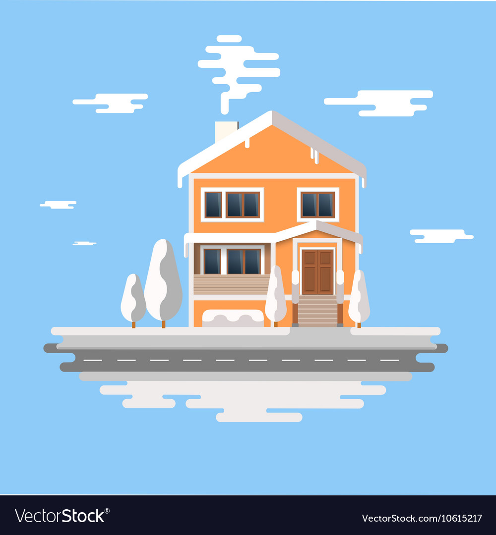 Winter house image of the orange brick vector image