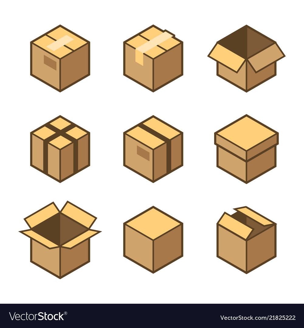 Carton packaging box icons set on white background