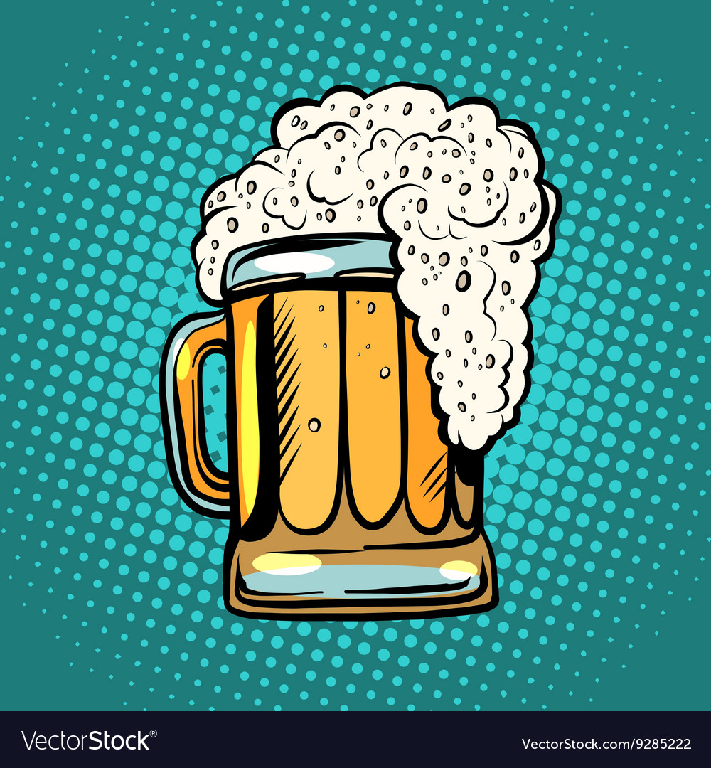 Foamy Mug Beer Pop Art Retro Royalty Free Vector Image