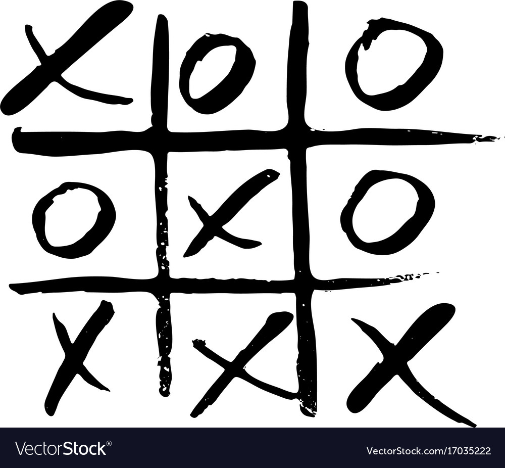 Hand drawn noughts and crosses