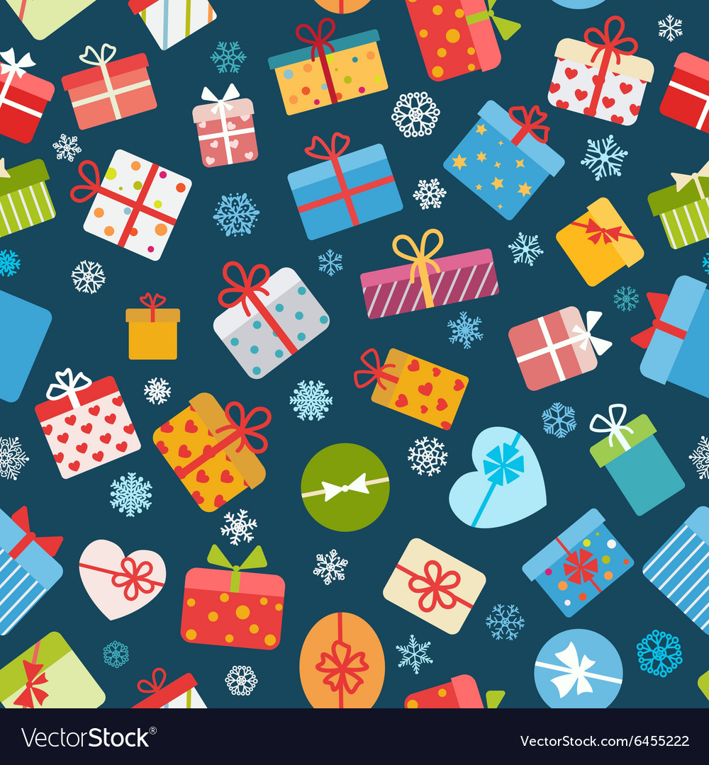 Seamless pattern of colorful gift boxes