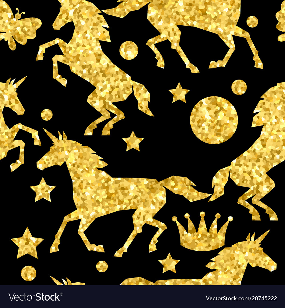 Seamless pattern with unicorns and gold glitter