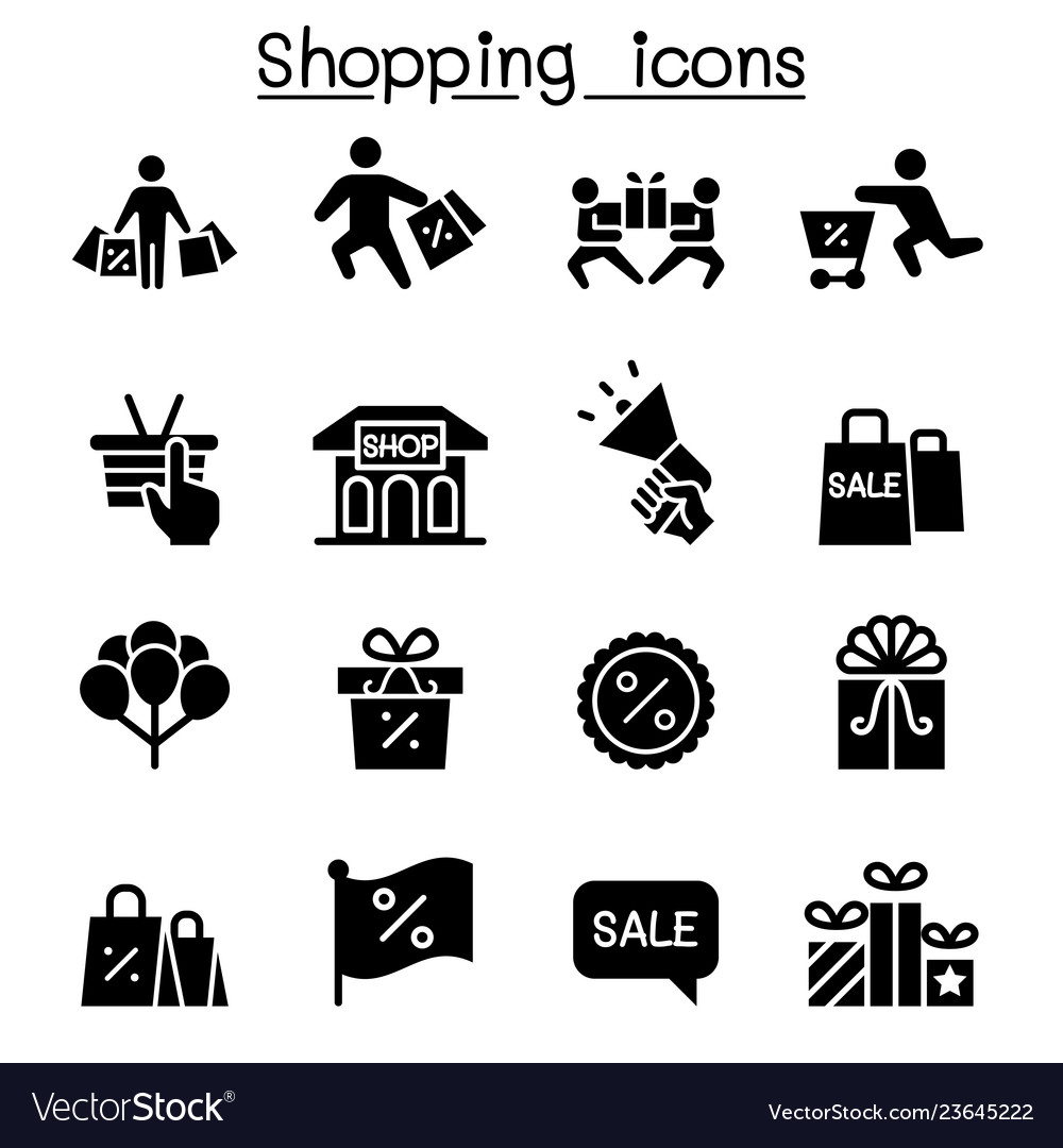 Shopping black friday cyber monday icon set flat