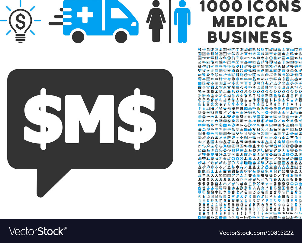 Sms Bubble Icon With 1000 Medical Business Symbols