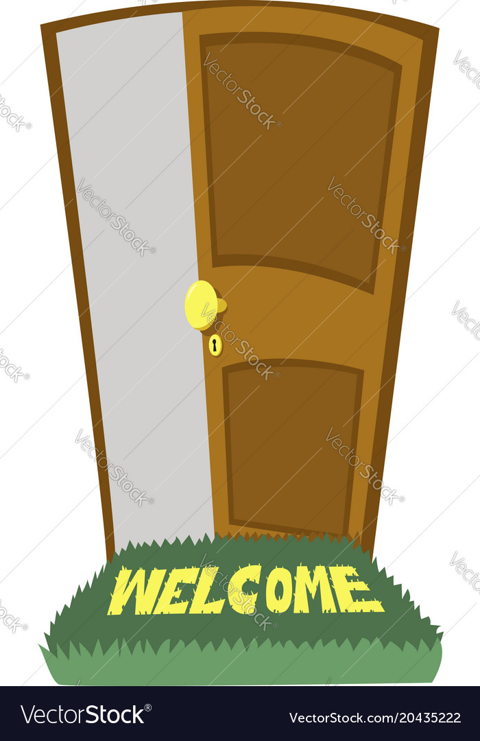 open door welcome entry door welcome carpet and door open vector image royalty free vector image