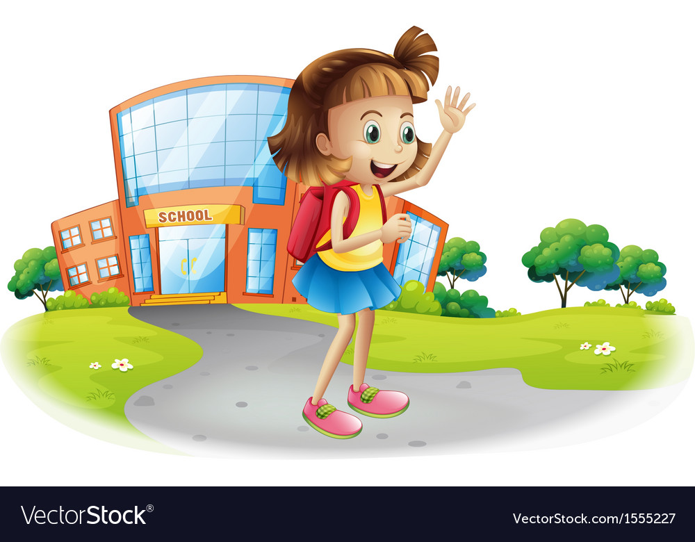 A girl going home from school Royalty Free Vector Image