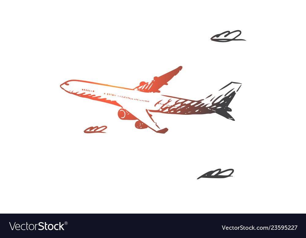 Airplane sky flight transport trip concept