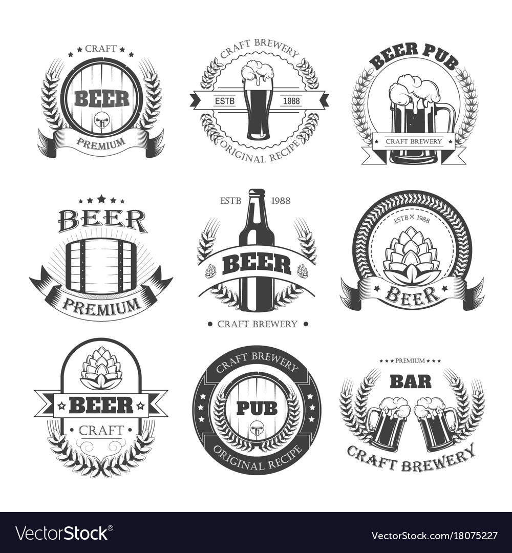 Beer icons for brewery bar pub or product