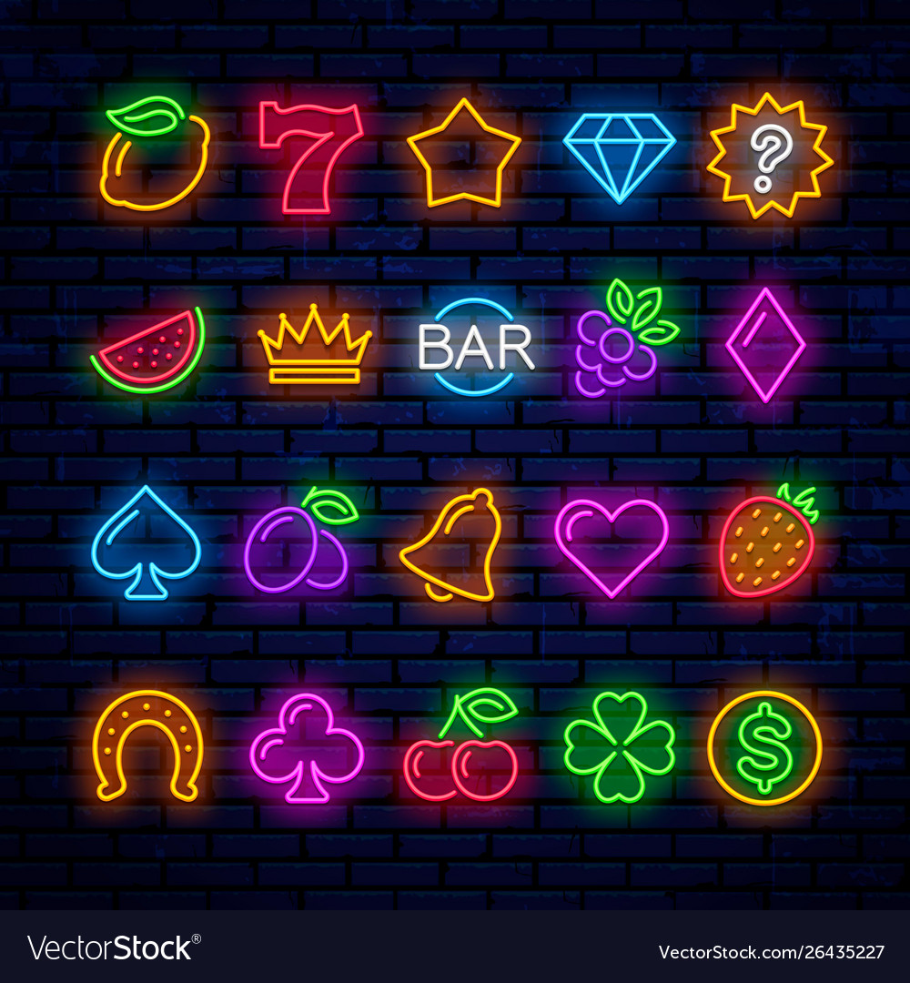 Bright neon icons for casino slot machine