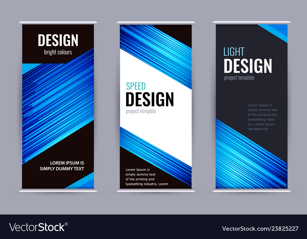 Bright roll-up banner with blue lines on dark