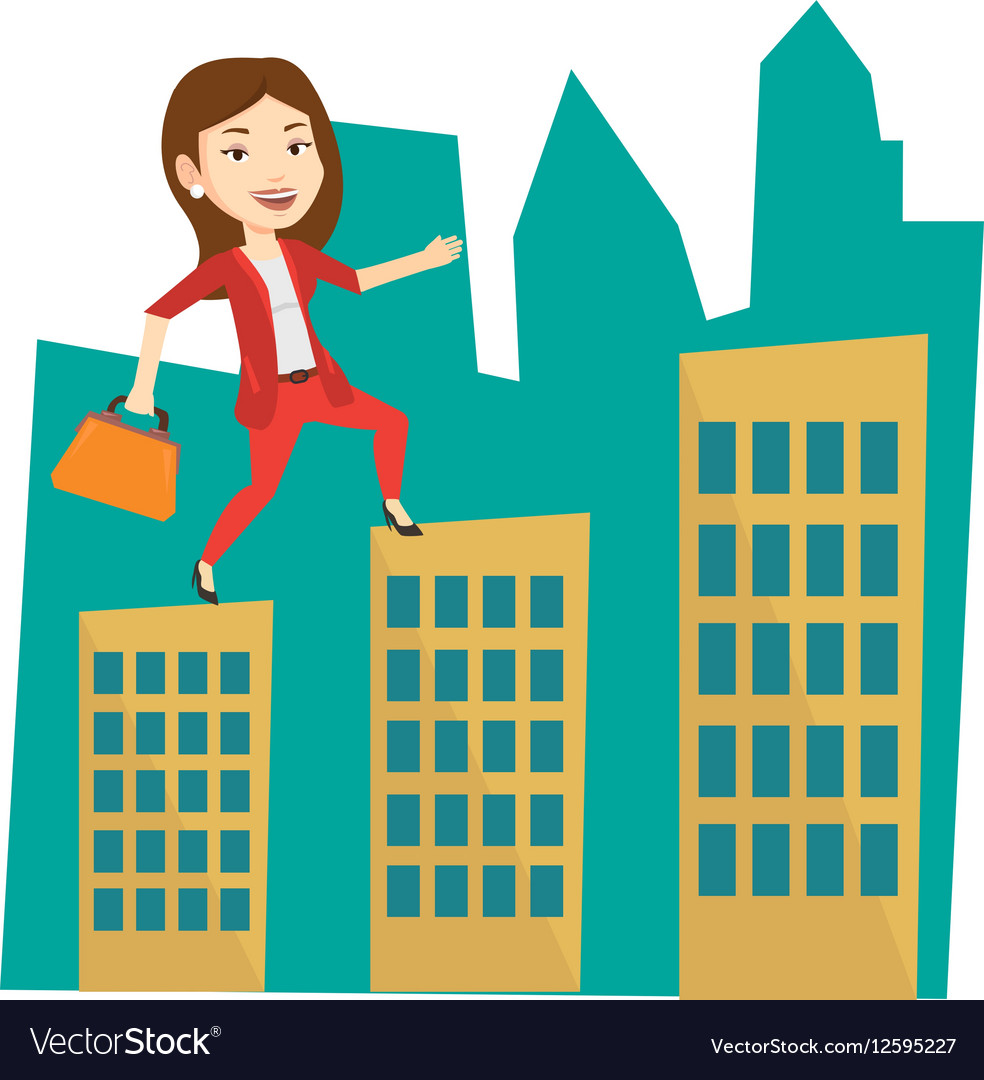 Business woman walking on the roofs of buildings