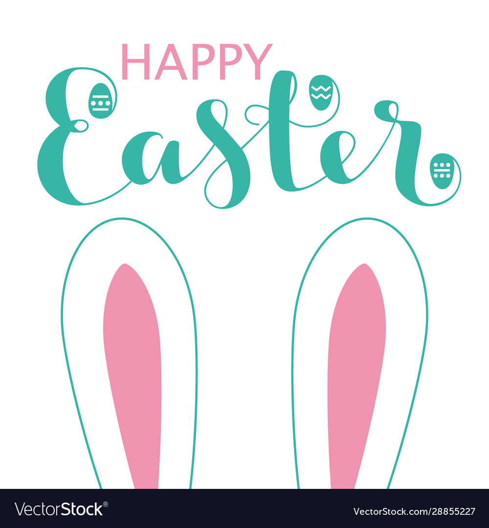 Happy easter card with bunny ears and lettering