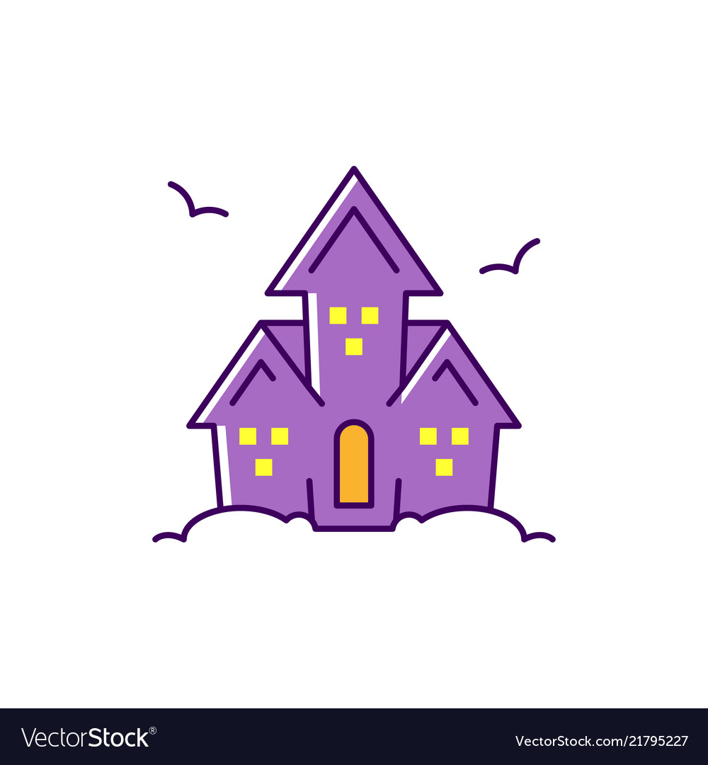 Haunted house colorful flat halloween icon