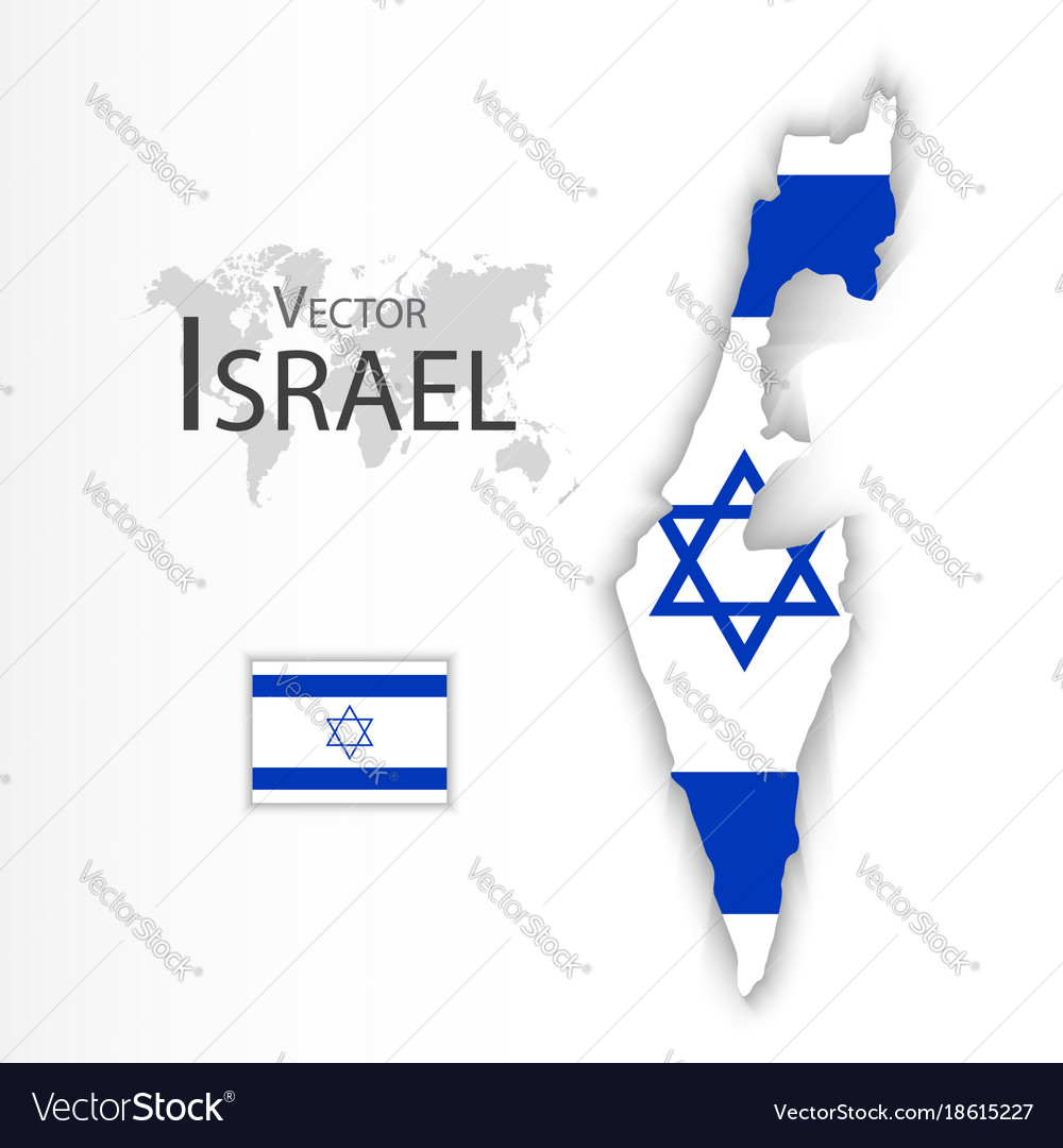 Israel flag and map