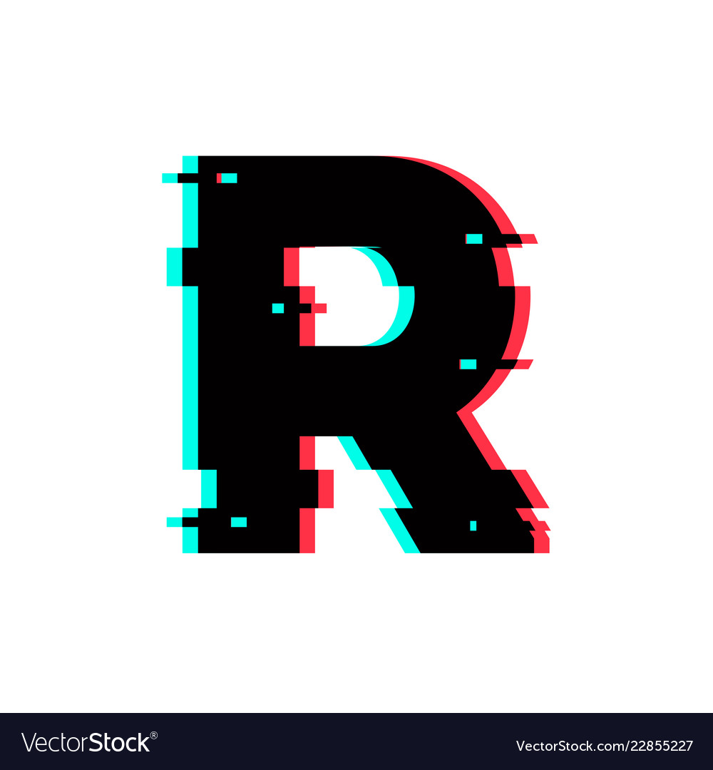 Logo Letter R Glitch Distortion Royalty Free Vector Image
