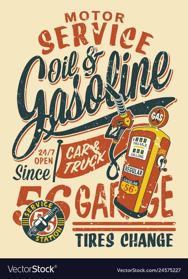 Motor service vintage gasoline station