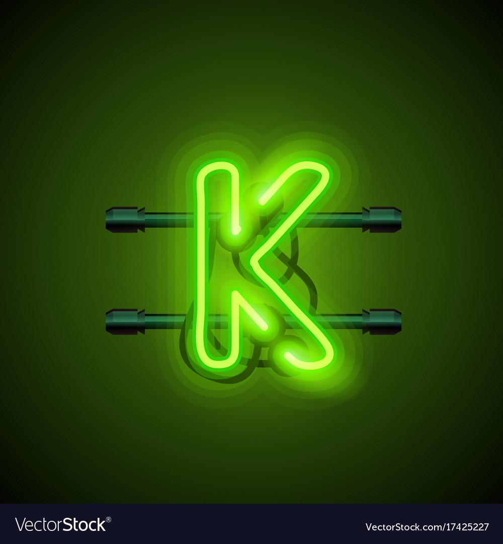 Neon Font Letter K Art Design Singboard Royalty Free Vector