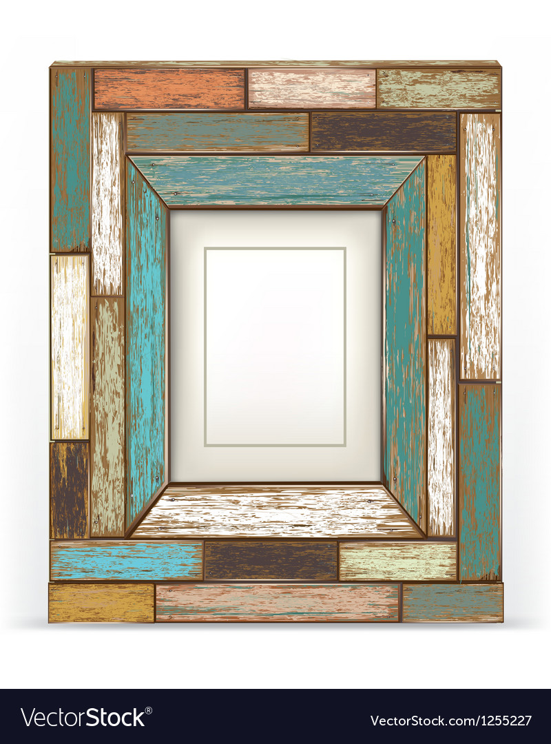Beau Old Vintage Wood Frame Vector Image