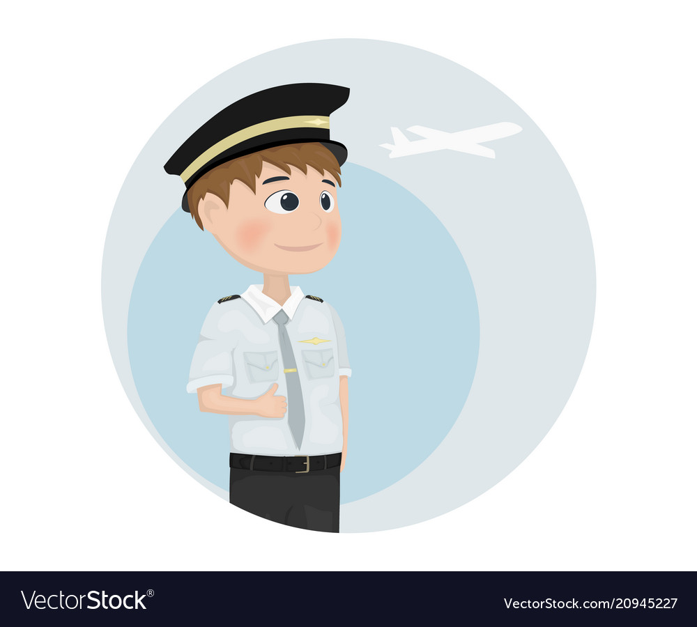 pilot template cartoon characters isolated vector image