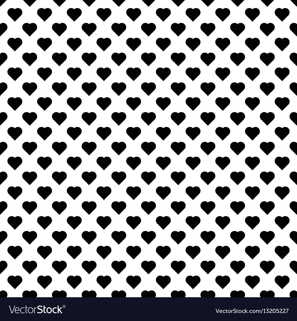 Seamless pattern with black hearts black hearts vector image