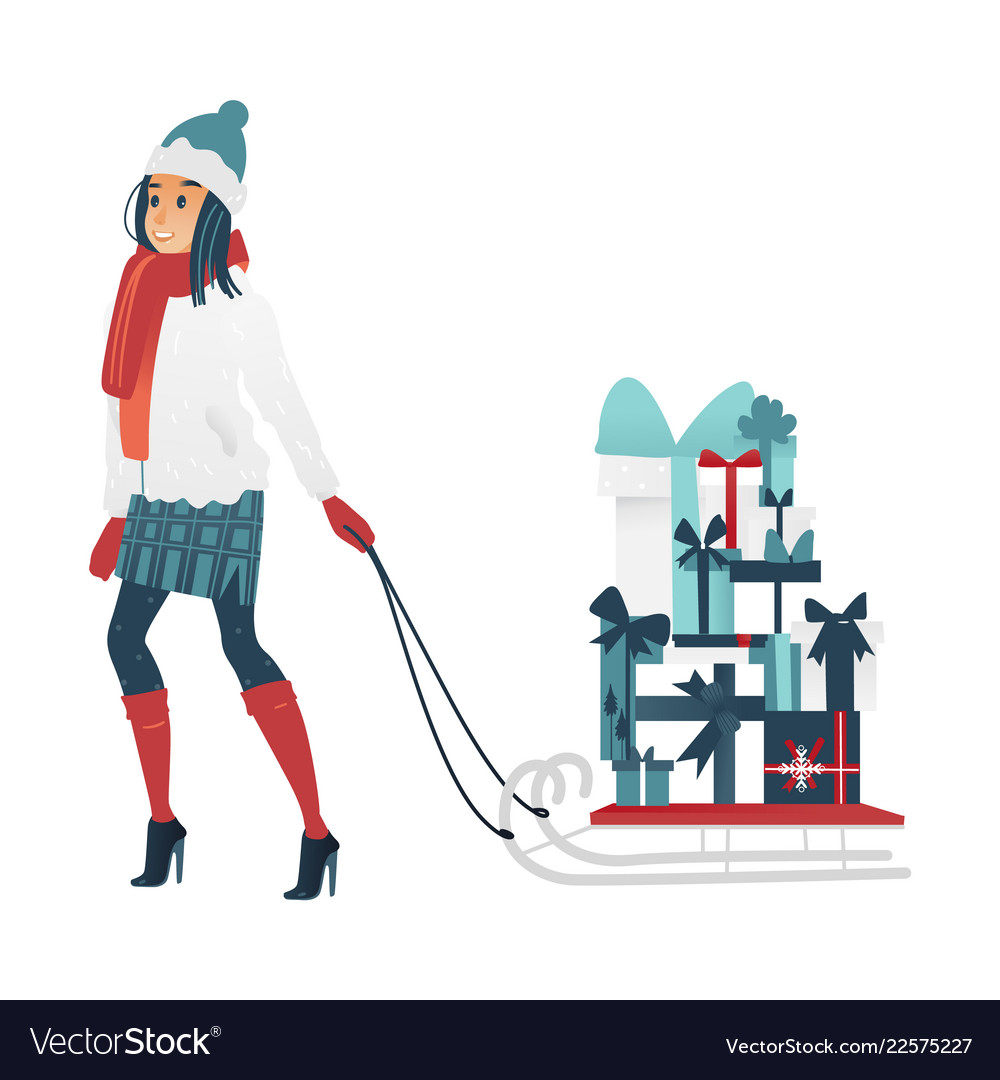 young woman pulling sleigh royalty free vector image