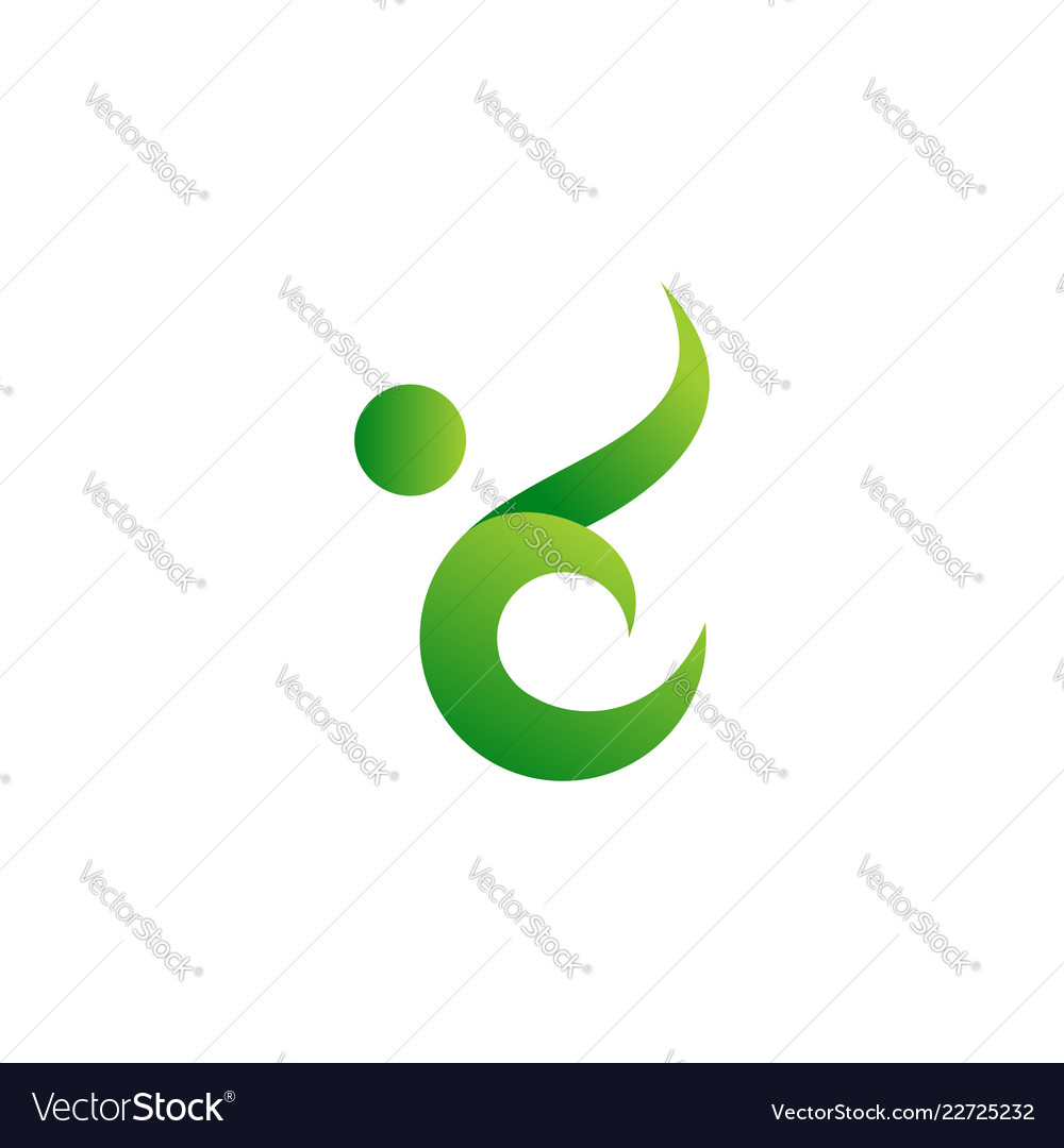 Abstract green people leaf icon logo