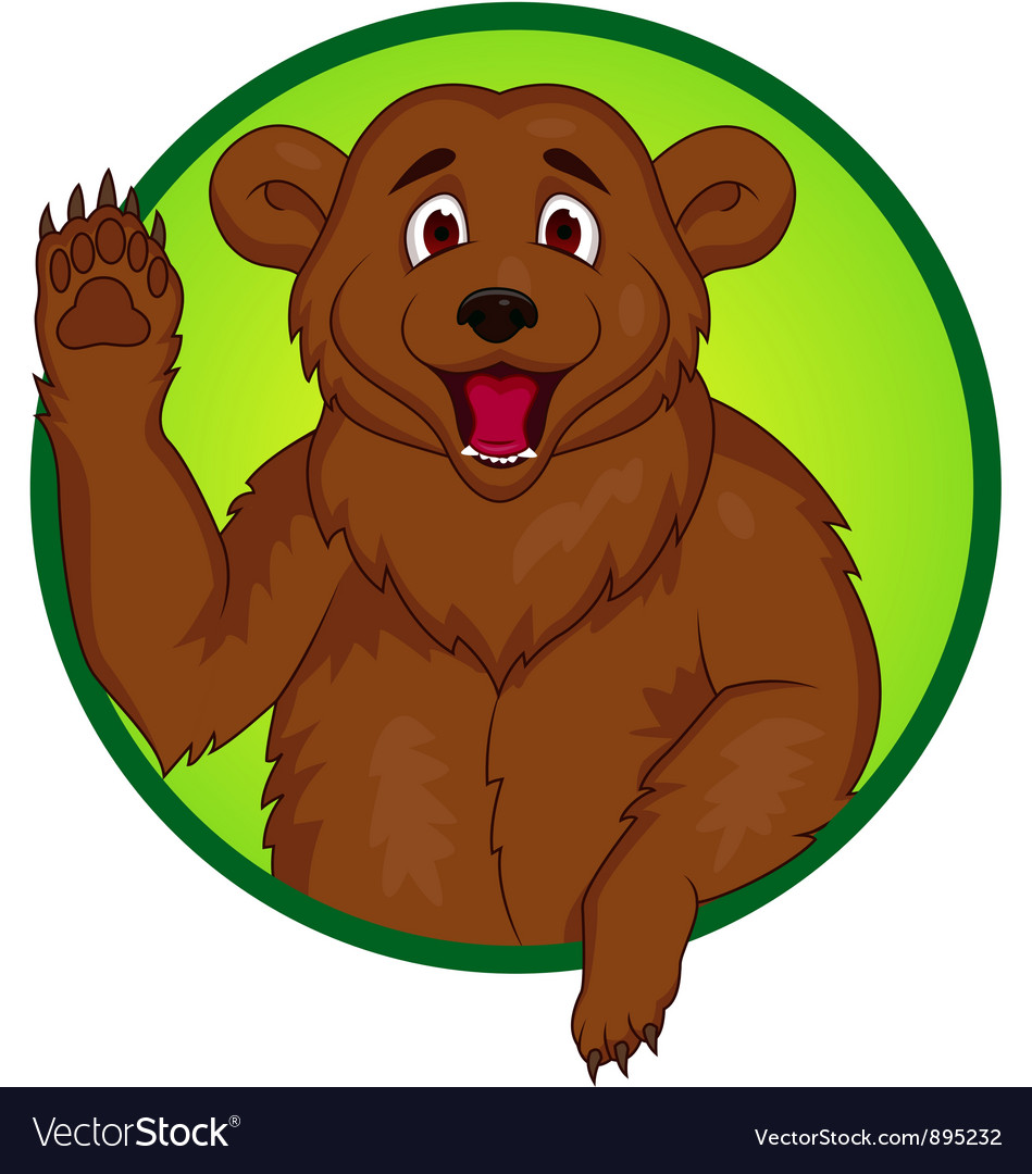 Bear cartoon waving hand vector image