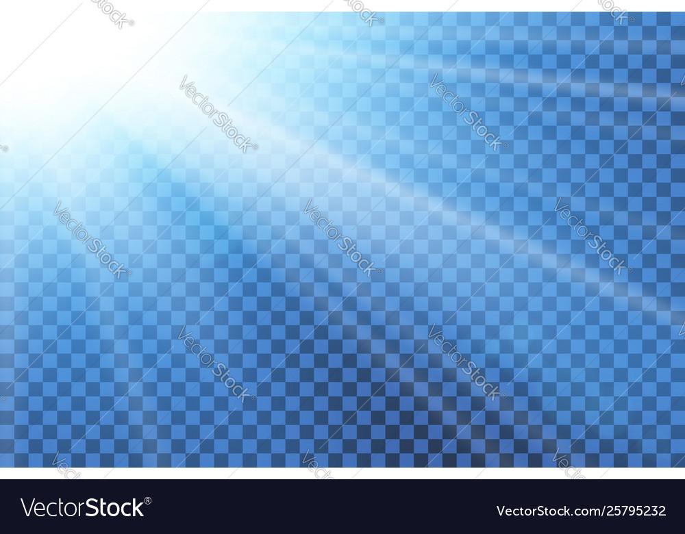 Blue sky sun flare transparent background clear