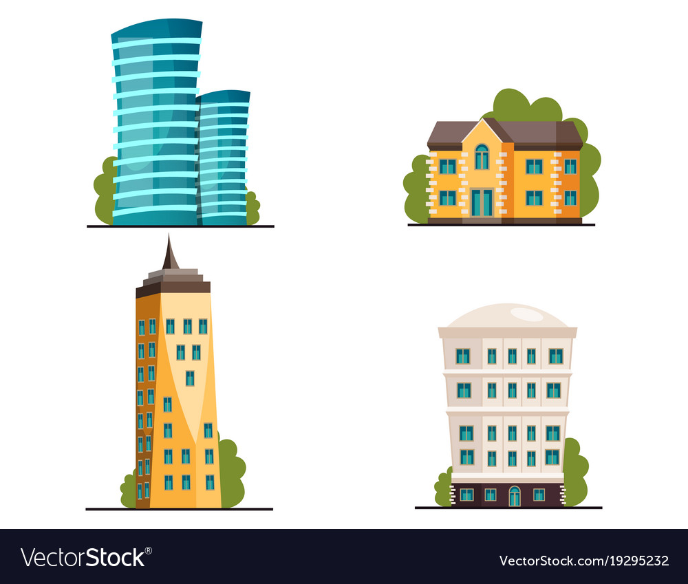 Buildings icon set different heights residential
