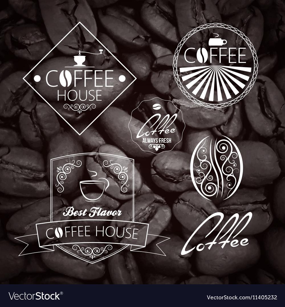 Coffe set Label Vintage Background vector image