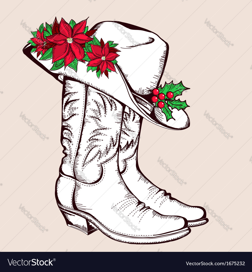Cowboy Christmas boots and hat graphic vector image