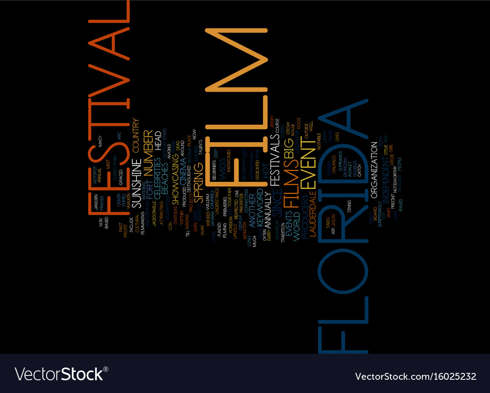 Florida film festival text background word cloud vector image