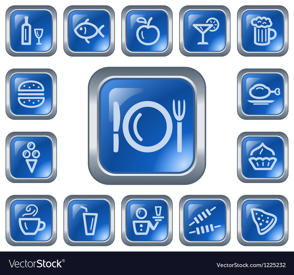 Food and drinks buttons vector image
