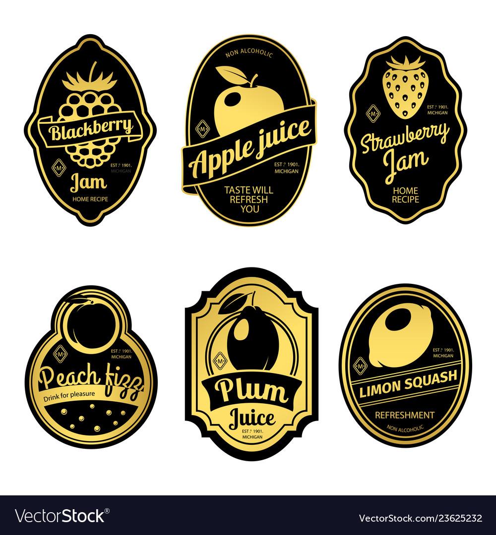 Gold retro fruit posters or vintage fruit labels