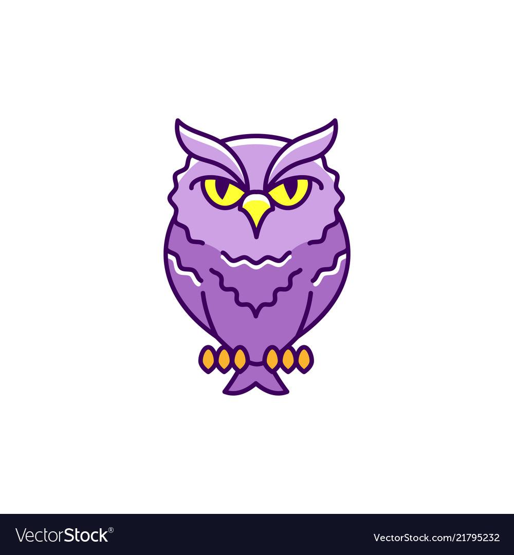Halloween icon eagle-owl thin line art