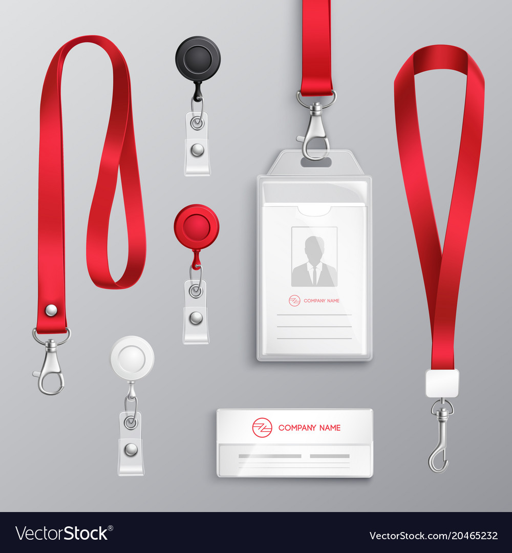 Identification card badge accessories set vector image