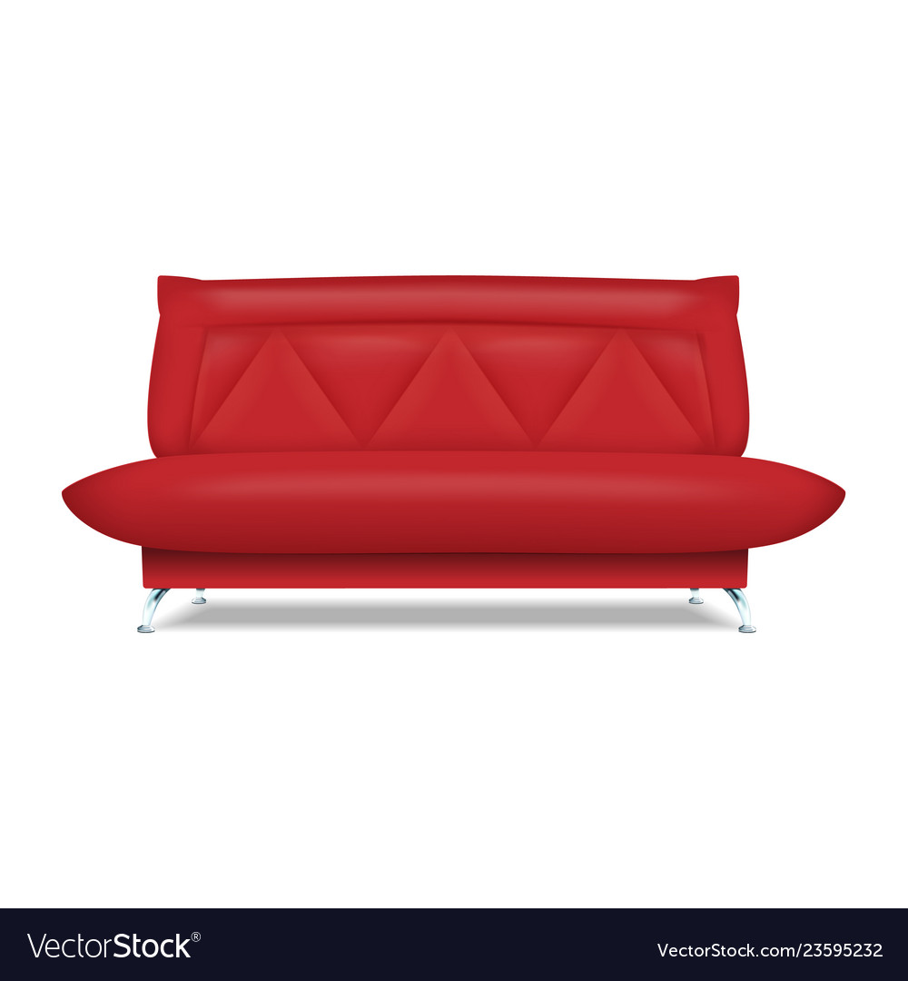 Red Leather Sofa Icon Realistic Style Royalty Free Vector