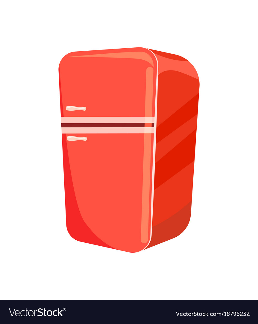 Red refrigerator isolated icon