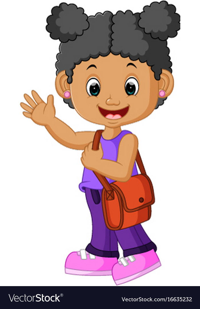 School Girl Cartoon Walking Royalty Free Vector Image-4751