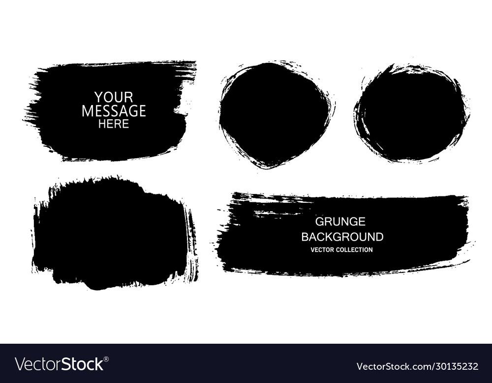 Set black paint ink brush strokes
